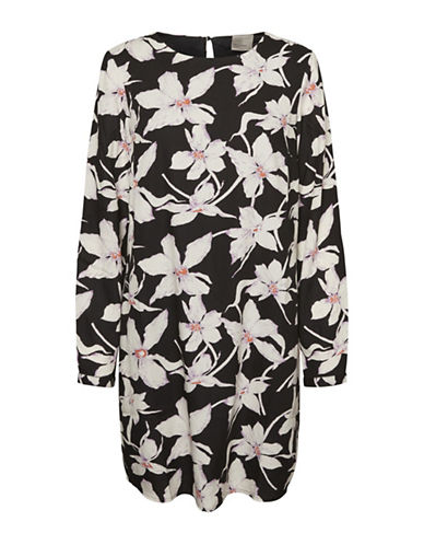 Vero Moda Floral Long-Sleeve Shift Dress-BLACK-Small