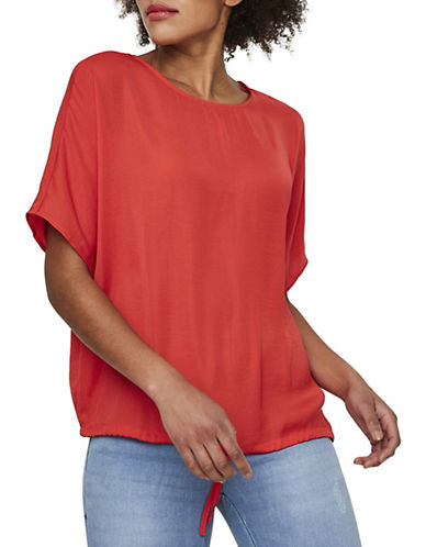 Noisy May Short Sleeve Tie-Hem Top-RED-Small