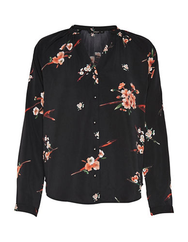 Only Floral Long-Sleeve Blouse-BLACK-40