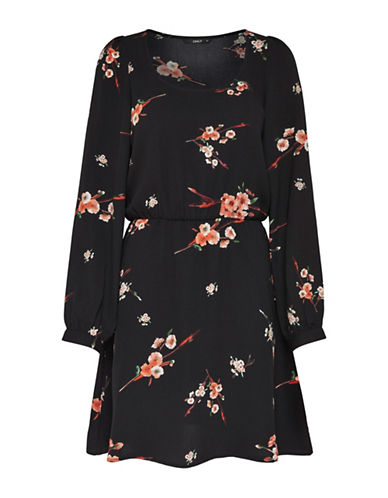 Only Floral Long-Sleeve Blouson Dress-BLACK MULTI-38