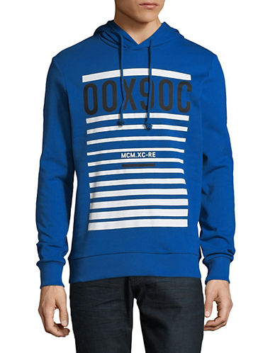 Jack And Jones Core Graphic Cotton Hoodie-BLUE-X-Large 90054089_BLUE_X-Large
