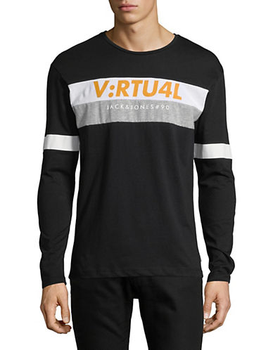 Jack And Jones Core Graphic Long-Sleeve T-Shirt-BLACK-Small 90054091_BLACK_Small