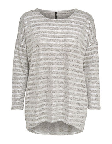 Only Heathered Long-Sleeve Pullover-GREY-X-Small