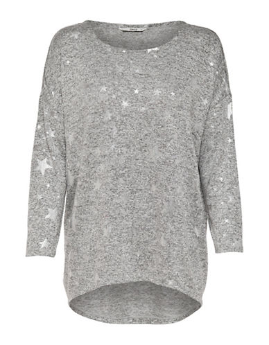Only Heathered Long-Sleeve Pullover-GREY-Medium