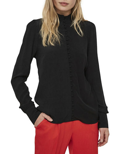 Vero Moda Carmen Button-Down Shirt-BLACK-Small
