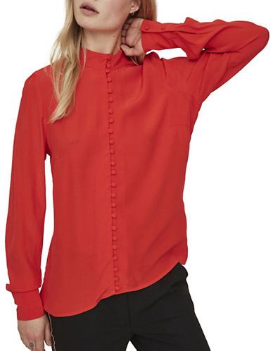 Vero Moda Carmen Button-Down Shirt-RED-X-Small