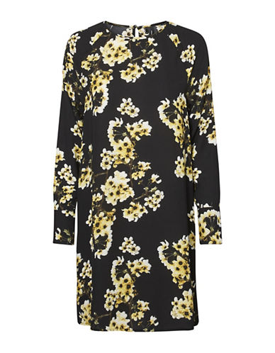 Vero Moda Occasion Mia Short Shift Dress-BLACK/YELLOW-X-Large
