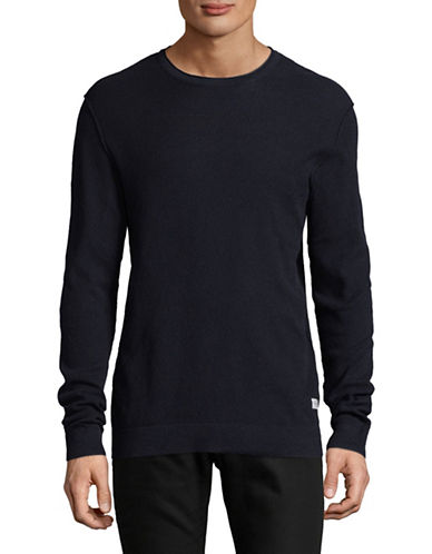 Jack & Jones Long -Sleeve Cotton Sweatshirt-NAVY-X-Large