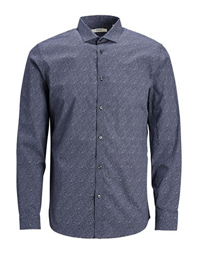 Jack And Jones Premium Printed Cotton Sport Shirt-NAVY-Small