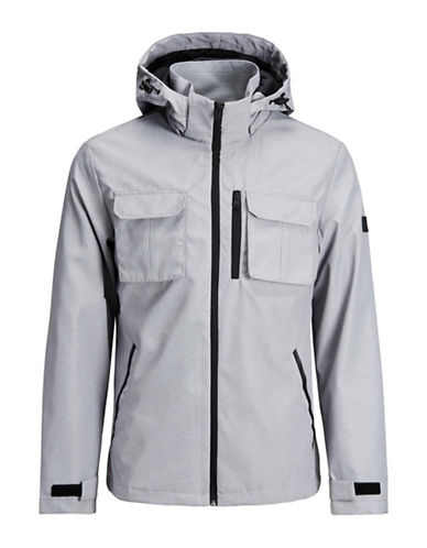 Jack & Jones Hooded Camp Jacket-GREY-X-Large