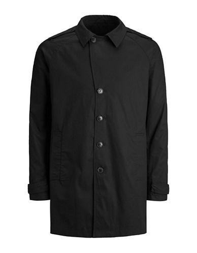 Jack And Jones Premium Classic Trench Coat-BLACK-Medium