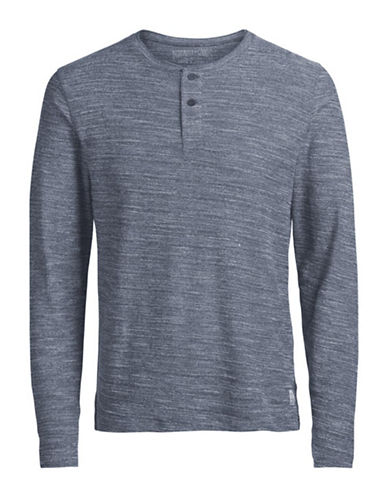 Jack And Jones Premium Long-Sleeve Cotton Henley-BLUE-Small