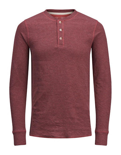 Jack And Jones Premium Long-Sleeve Cotton Henley-RED-X-Large