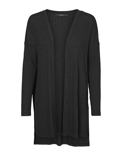 Vero Moda Ribbed Open-Front Cardigan-BLACK-Large