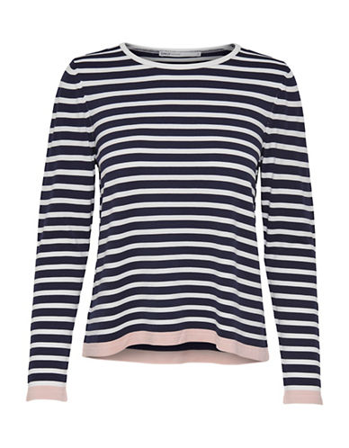 Only Suzana Stripe Long-Sleeve Sweater-NAVY-Large