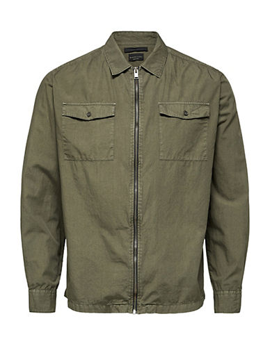 Selected Homme Two Mason Zip Cotton Jacket-GREEN-Small 90092201_GREEN_Small