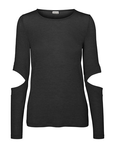 Noisy May Kennedy Cutout Elbow Top-BLACK-Large