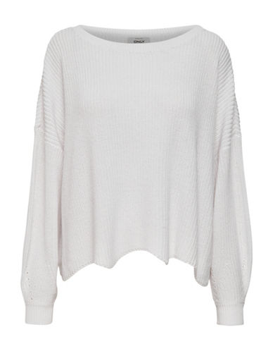 Only Tina Long-Sleeve Oversized Pullover-BRIGHT WHITE-Medium