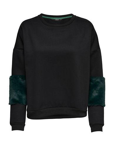 Only Faux Fur Sleeve Sweatshirt-BLACK-Large 89712592_BLACK_Large