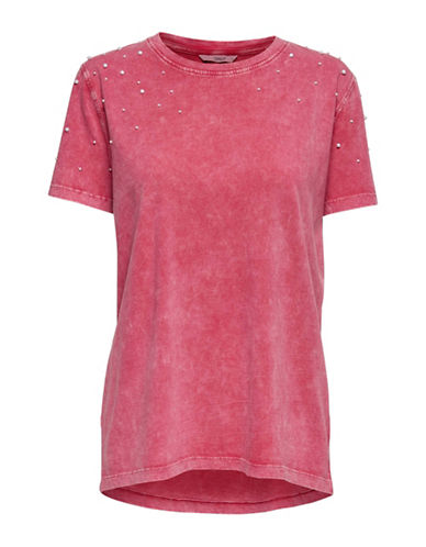 Only Marissa Pearl Embellished Burnout Tee-RED-Large