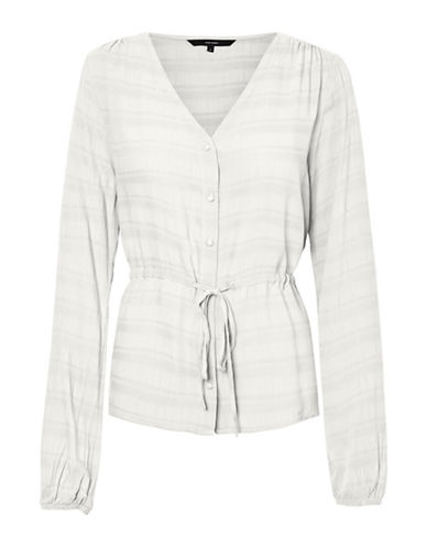 Vero Moda Sophia Tonal Striped Long Sleeve Top-WHITE-Medium 89795367_WHITE_Medium