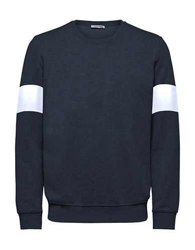 Selected Homme Dutch Crew Neck Cotton Sweatshirt-NAVY BLUE-Medium