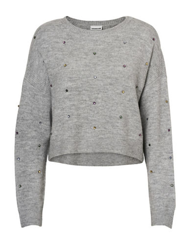 Noisy May Gigi Cropped Pullover-LIGHT GREY-Large