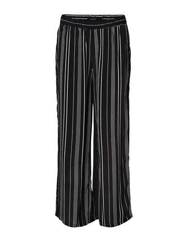 Vero Moda Laura Striped Wide-Leg Pants-BLACK-X-Large 90017429_BLACK_X-Large
