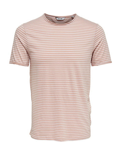 Only And Sons Striped Cotton T-Shirt-PINK-Medium 90066572_PINK_Medium
