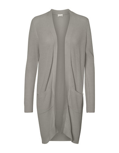 Noisy May Skylar Oversized Cardigan-LIGHT GREY-Large