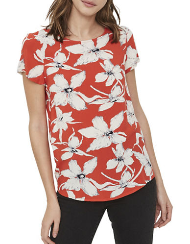 Vero Moda Floral Short-Sleeve Top-ORANGE-Medium