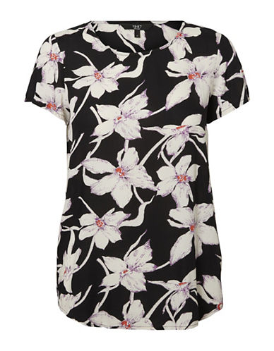 Vero Moda Floral Short-Sleeve Top-BLACK-Medium