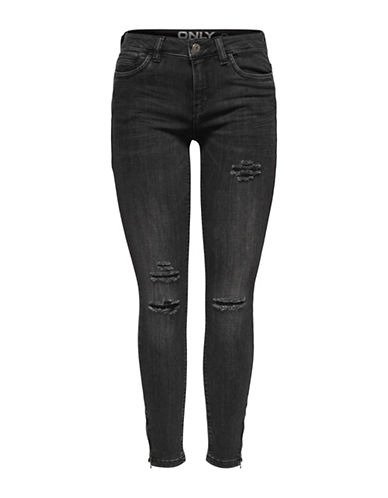 Only Distressed Ankle-Zip Jeans-BLACK-27