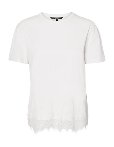 Vero Moda Laced-Hem Cotton Tee-WHITE-X-Large