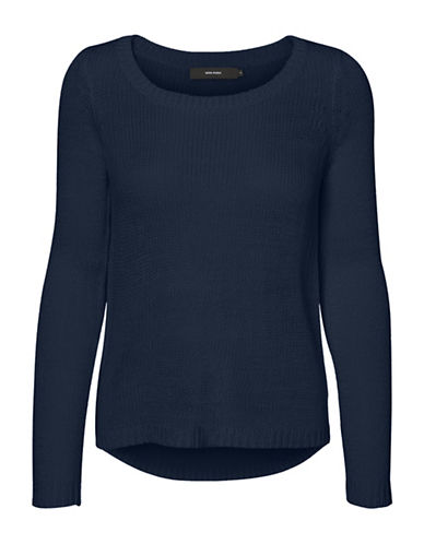 Vero Moda Classic Cable-Knit Sweater-BLUE-Small
