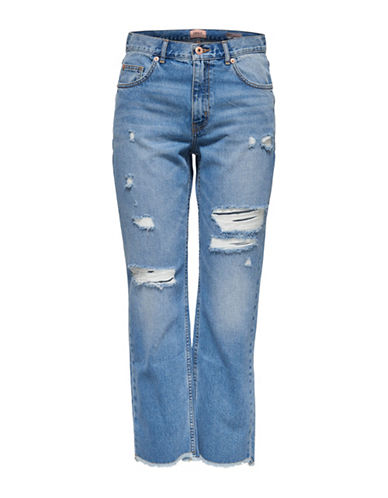 Only Chad Distressed High-Waist Ankle Jeans-LIGHT BLUE-26