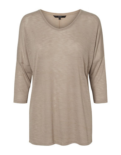 Vero Moda Anna Asti Three Quarter Sleeve Top-BEIGE-X-Small