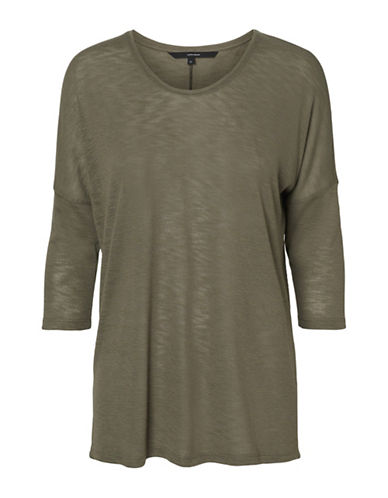 Vero Moda Anna Asti Three Quarter Sleeve Top-OLIVE-Small
