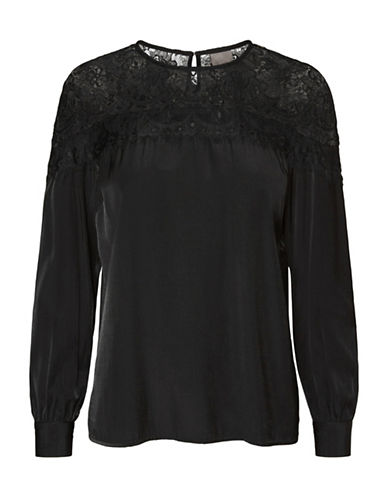 Vero Moda Emmi Lace Blouse-BLACK-Medium