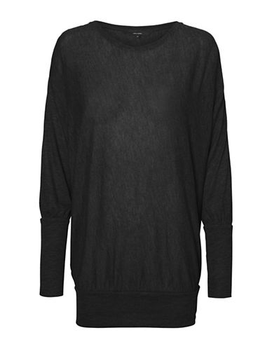 Vero Moda Heathered Long-Sleeve Top-BLACK-Medium