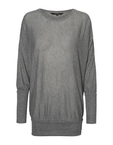 Vero Moda Heathered Long-Sleeve Top-GREY-X-Small