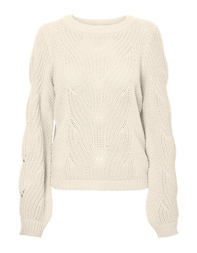Vero Moda Wishi Knit Sweater-WHITE-Medium