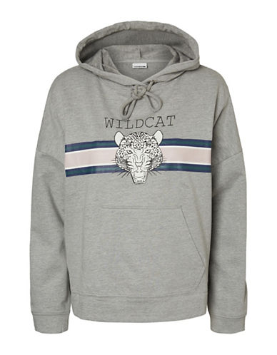 Noisy May Wildcat Cotton Hoodie-GREY-Small