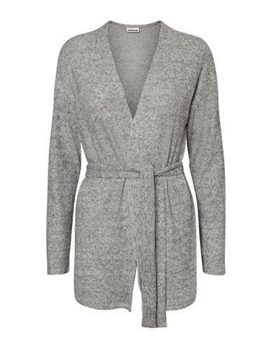 Noisy May Long-Sleeve Kimono Cardigan-GREY-Medium