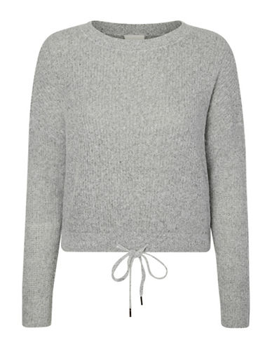 Noisy May Round Neck String Top-GREY-X-Small
