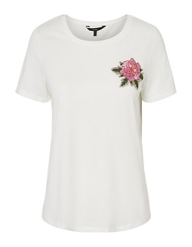 Vero Moda Lenna Embroidered Patch Tee-WHITE-Large 90065882_WHITE_Large