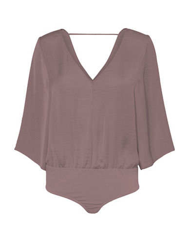 Noisy May Deep V-Neck Bodysuit-PURPLE-Small