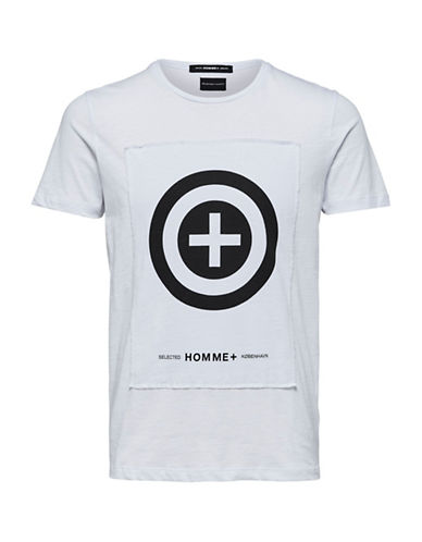 Selected Homme Regular-Fit Logo Cotton T-Shirt-WHITE-XX-Large 90031099_WHITE_XX-Large