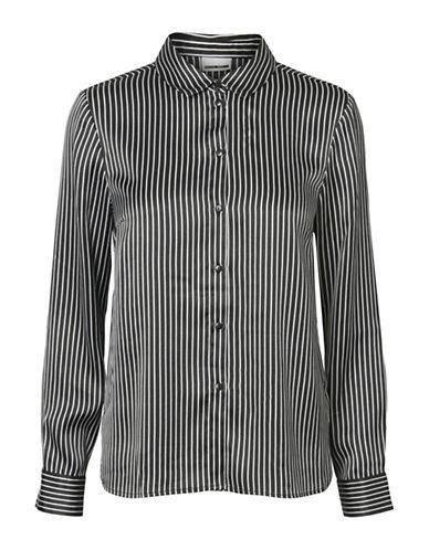 Noisy May Felicia Long-Sleeve Hi-Lo Sateen Shirt-BLACK-Large 89865696_BLACK_Large