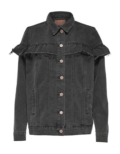 Only Frilled Ruffle Denim Jacket-BLACK-34